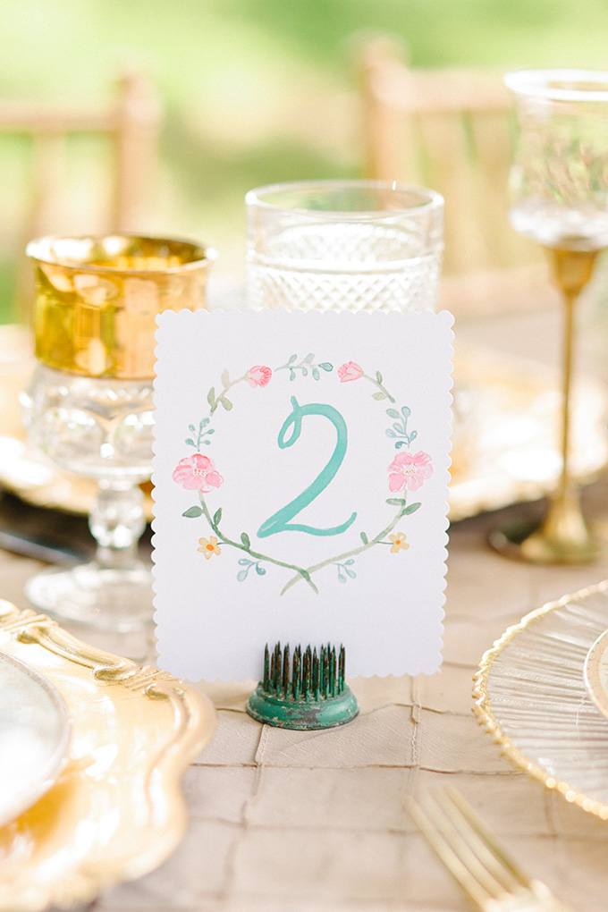 handpainted table numbers | Catherine Ann Photography | Glamour & Grace