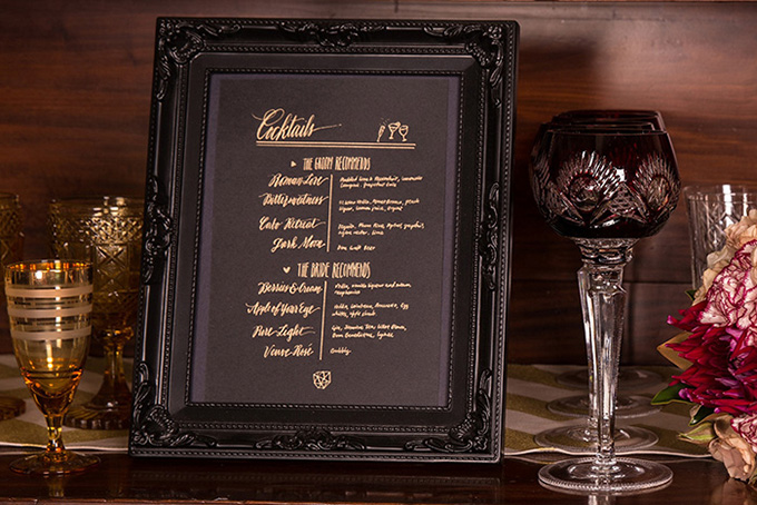 cocktail menu | Catch Studio | Glamour & Grace