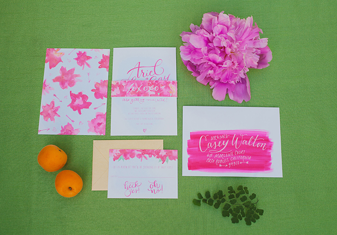 pink watercolor invitaions | Alexandra Wallace | Glamour & Grace