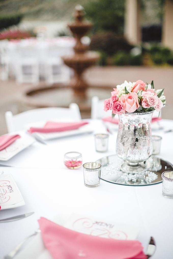 pink centerpieces | Jacquelynn Brynn Photography | Glamour & Grace