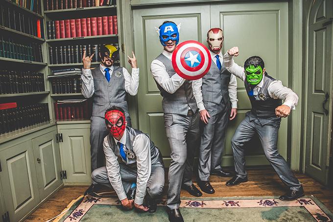 superhero groomsmen | BG Productions Photography | Glamour & Grace