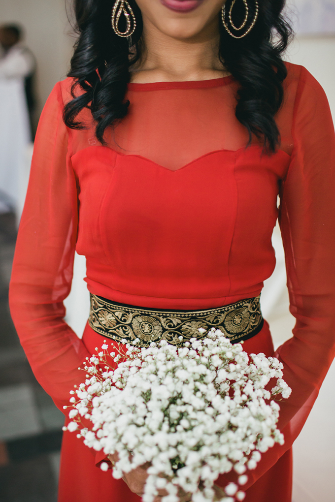 red bridesmaids with baby's breath bouquets | Cyrience Creative Studios | Glamour & Grace