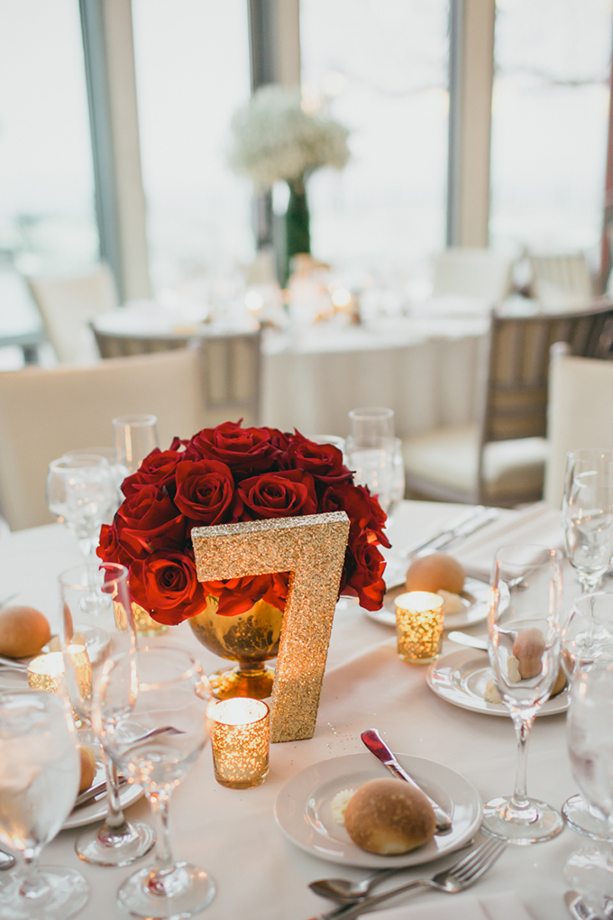 glam gold and red centerpieces | Cyrience Creative Studios | Glamour & Grace