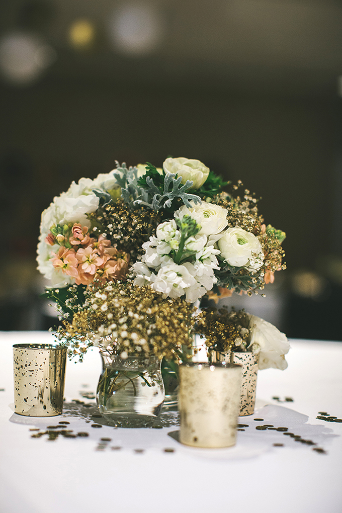 gold DIY centerpieces | Plum Jam Photography | Glamour & Grace
