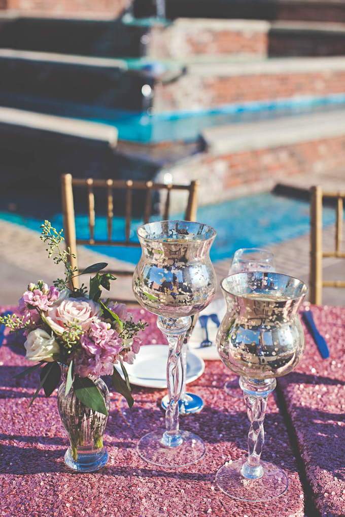 pink sequin centerpieces   Lindsey Gomes Photography   Glamour & Grace