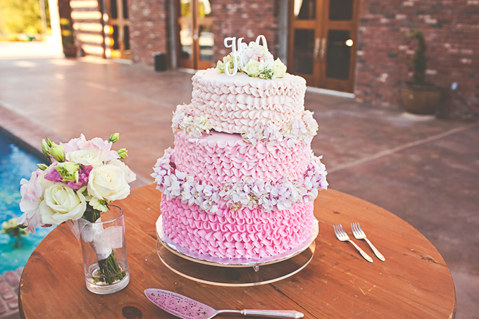 pink ombre ruffle cake   Lindsey Gomes Photography   Glamour & Grace