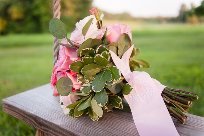 monogram bouquet ribbon from Oatmeal Lace   Desjar Photography   Glamour & Grace