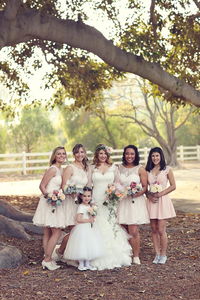 blush lace bridesmaids | Lukas & Suzy VanDyke | Glamour & Grace