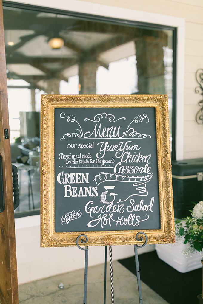 chalkboard menu | Logan Howard Photography | Glamour & Grace