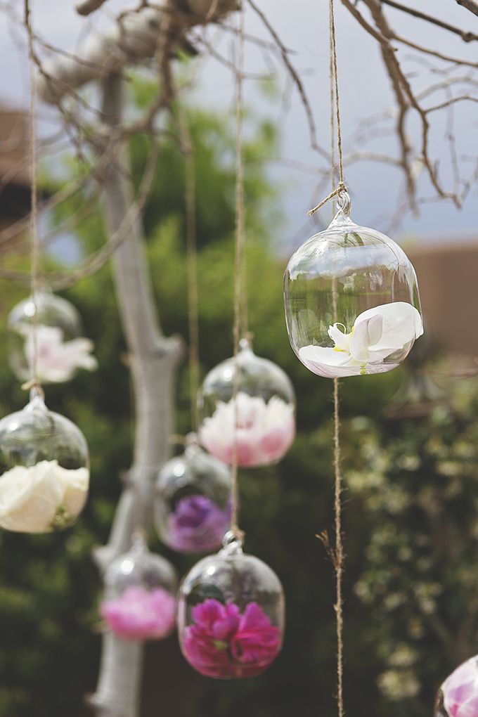 hanging flower holders for ceremony backdrop | Liz Anne Photography | Glamour & Grace