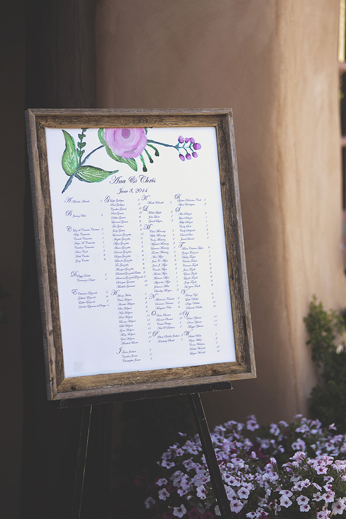handpainted seating chart | Liz Anne Photography | Glamour & Grace