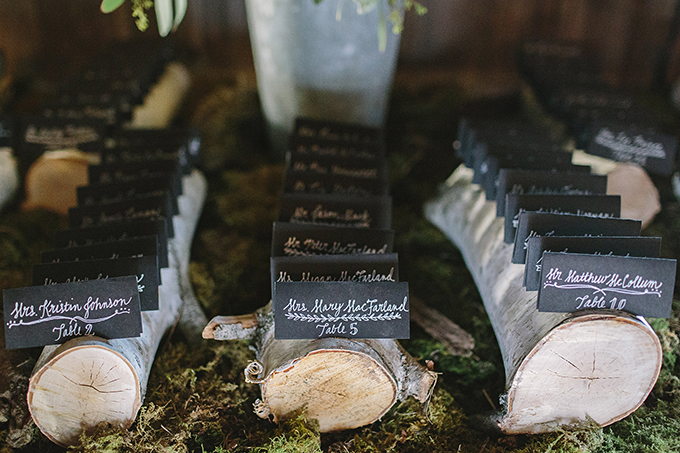 calligraphy and wood escort cards | Brooke Courtney Photography | Glamour & Grace
