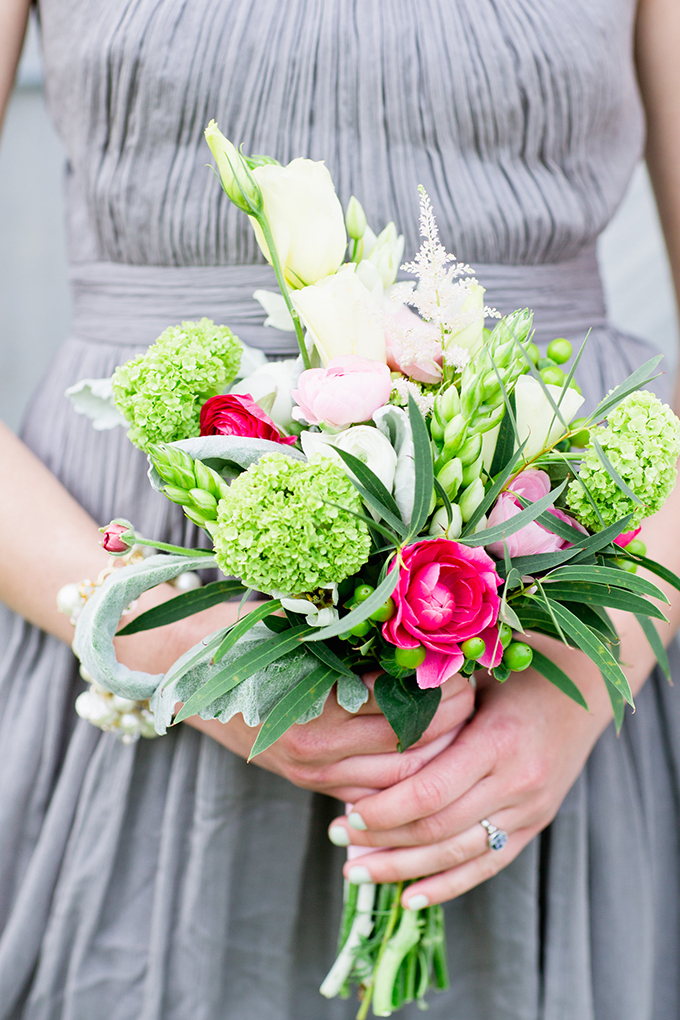 pink and green bridesmaid bouquet | Cassandra Photo | Glamour & Grace