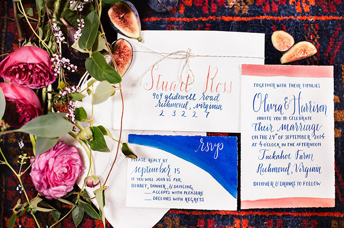 hand painted invitation | Reverie Supply & Co. | Glamour & Grace