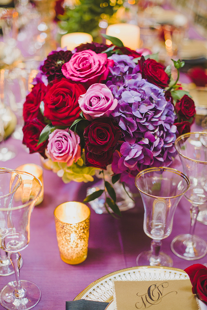 glam red and purple centerpiece | Elyse Hall Photography | Glamour & Grace