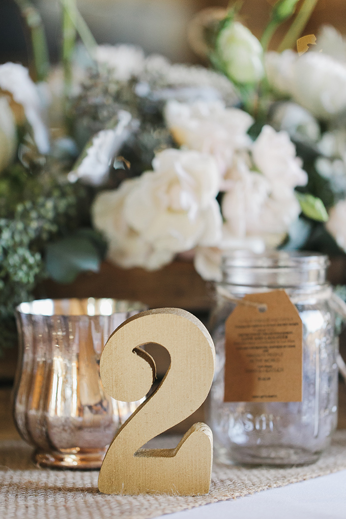 gold wood table numbers | Jessica Connery Photography | Glamour & Grace