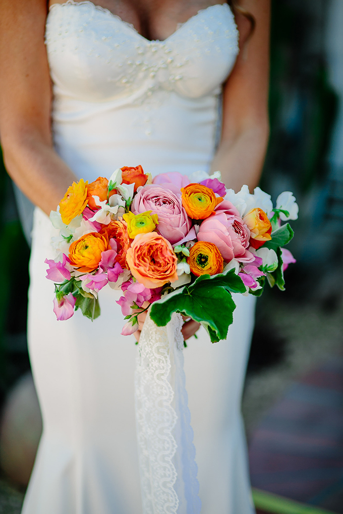 bright orange and pink bouquet | Caroline + Ben Photography | Glamour & Grace
