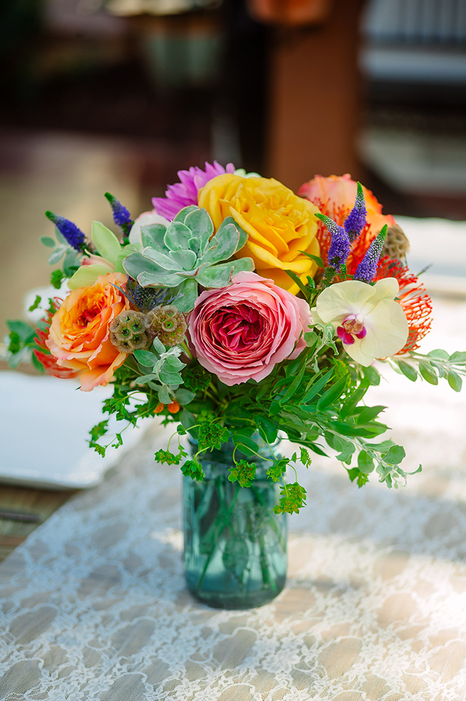 colorful centerpieces | Caroline + Ben Photography | Glamour & Grace