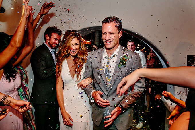 confetti exit | Caroline + Ben Photography | Glamour & Grace