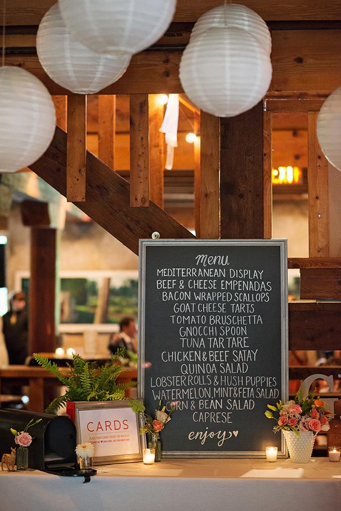 chalkboard menu | Tammy Swales | Glamour & Grace
