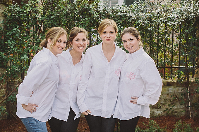 monogram bridesmaid button downs | Maile Lani Photography | Glamour & Grace