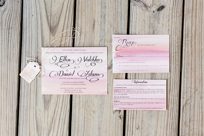 watercolor wedding invitations | Laura Ann Miller Photography | Glamour & Grace