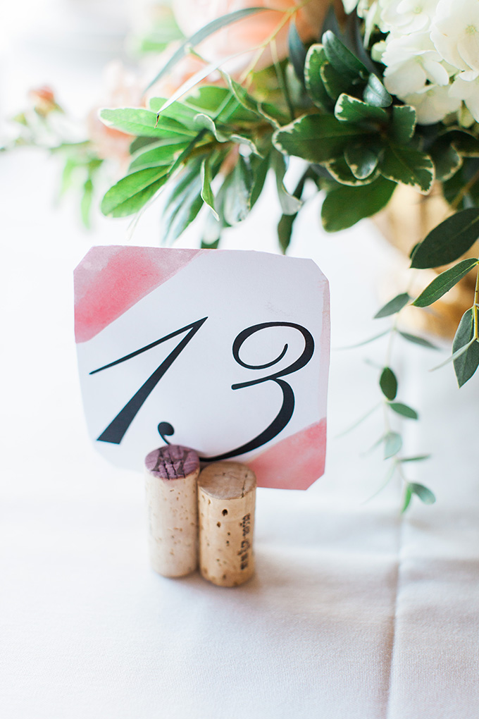 watercolor table number | Laura Ann Miller Photography | Glamour & Grace
