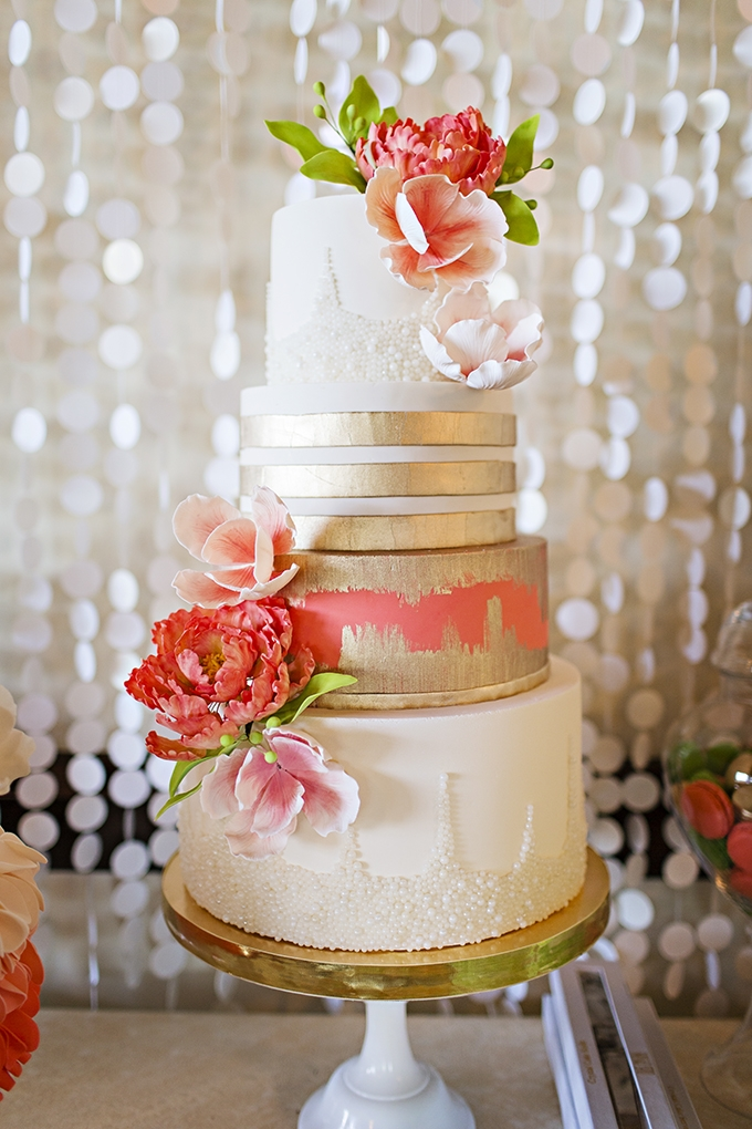 pink and gold cake | Courtney Bowlden Photography | Glamour & Grace