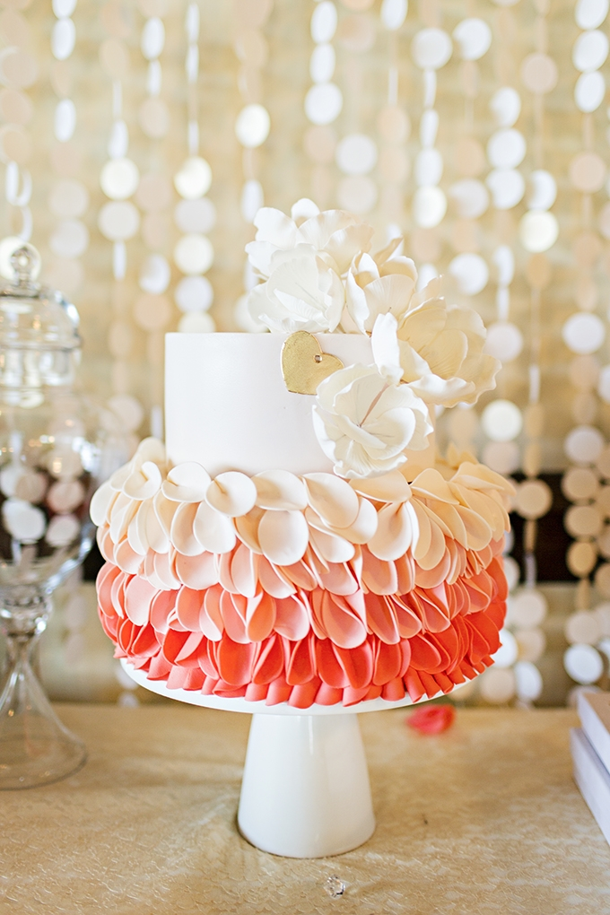 ruffled coral cake | Courtney Bowlden Photography | Glamour & Grace