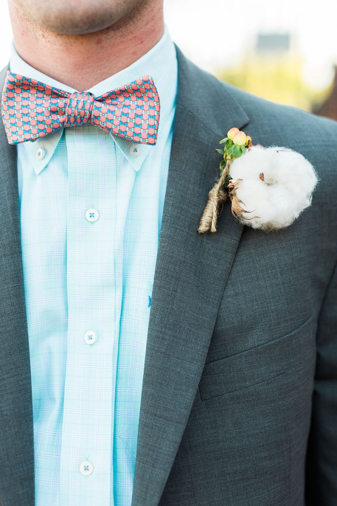 handmade bowtie and cotton bout | Devon Donnahoo Photography | Glamour & Grace