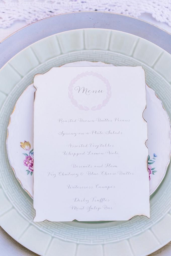vintage menu | Shalese Danielle Photography | Glamour & Grace