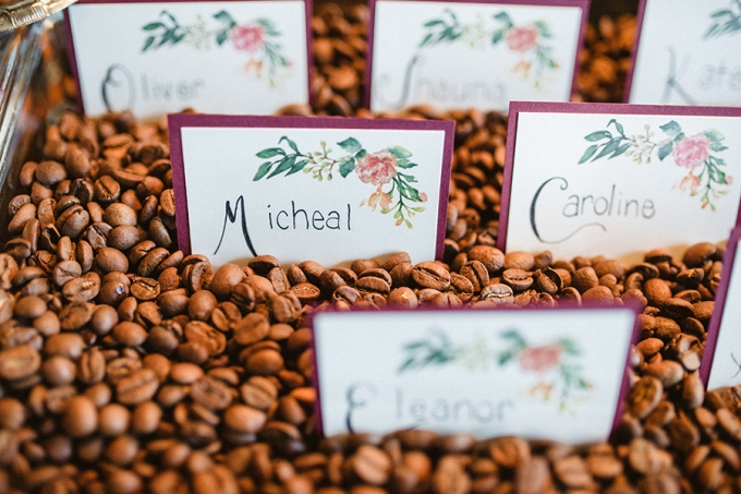 coffee bean escort cards | Elizabeth Haase Photography | Glamour & Grace