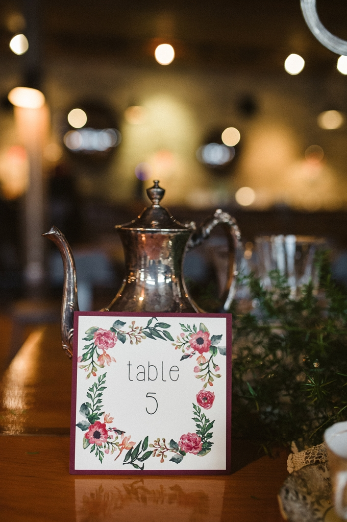 floral table number | Elizabeth Haase Photography | Glamour & Grace