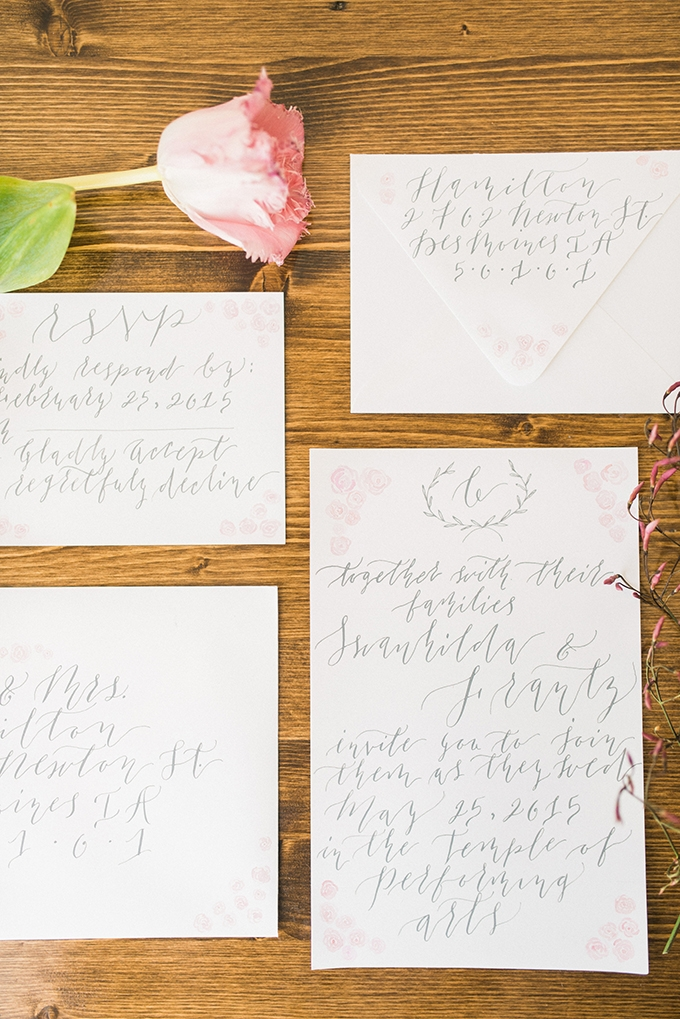 calligraphy invitations | Everlasting Love Photography | Glamour & Grace