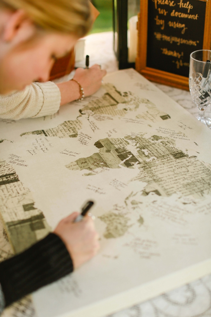 map guest book | Allee J. | Glamour & Grace