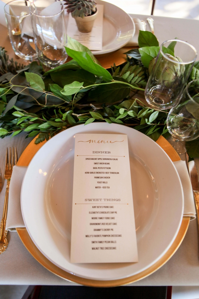 gold menu | Allee J. | Glamour & Grace