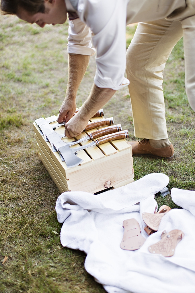 custom hatchets for groomsmen gifts | Courtney Bowlden Photography | Glamour & Grace
