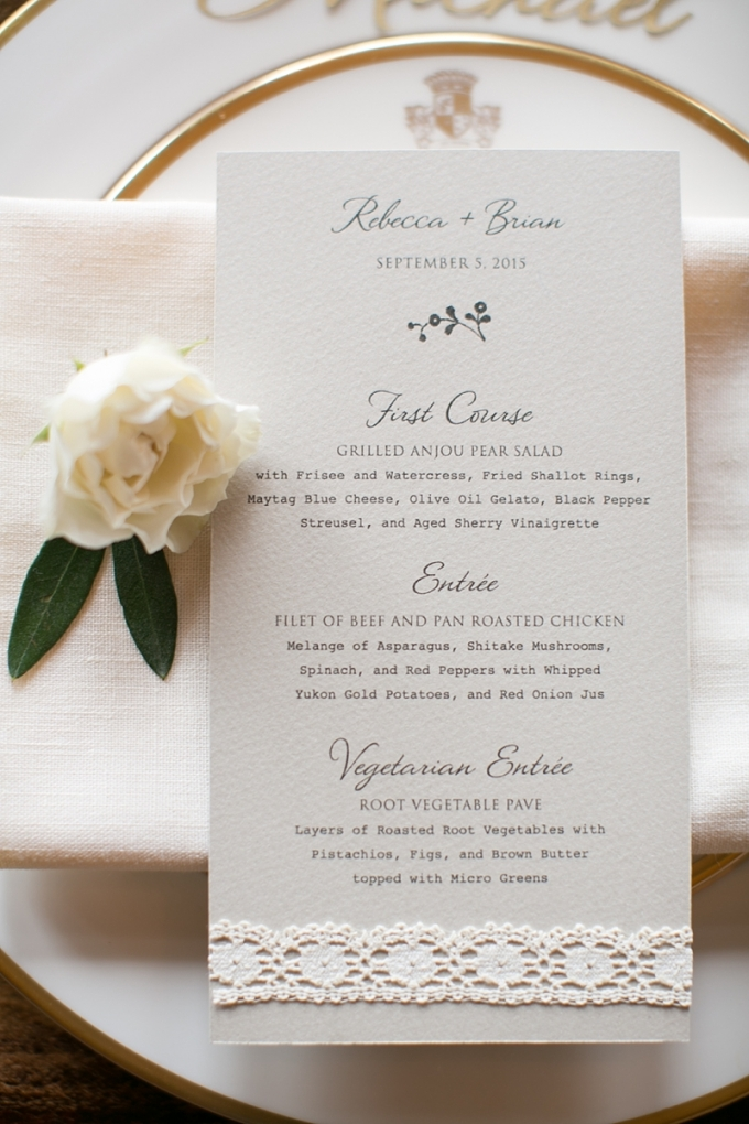 elegant menu | Christy Tyler Photography | Glamour & Grace