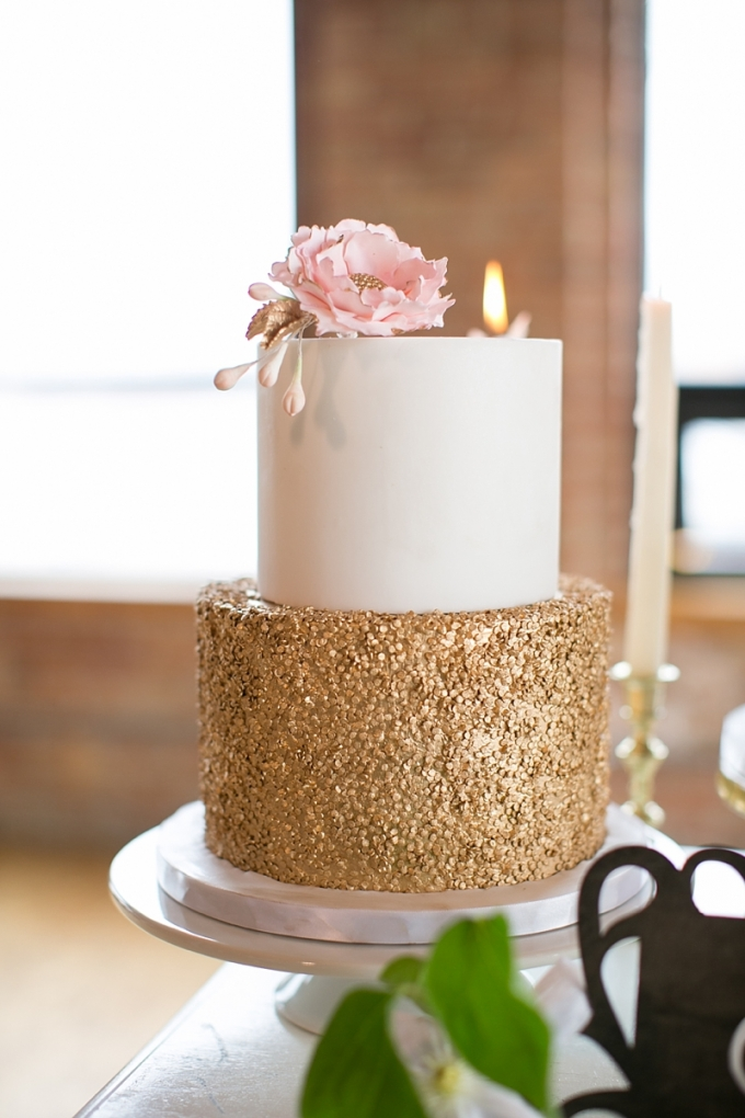 gold sparkle cake | Christy Tyler Photography | Glamour & Grace