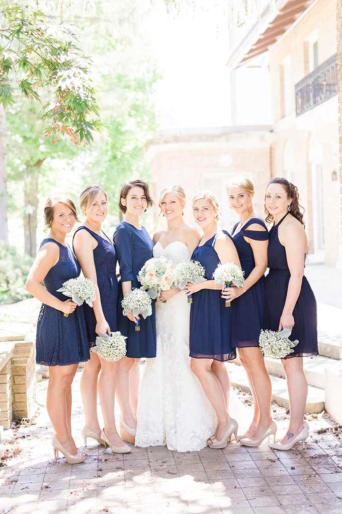 blue bridesmaids | Bee Mine Photography | Glamour & Grace