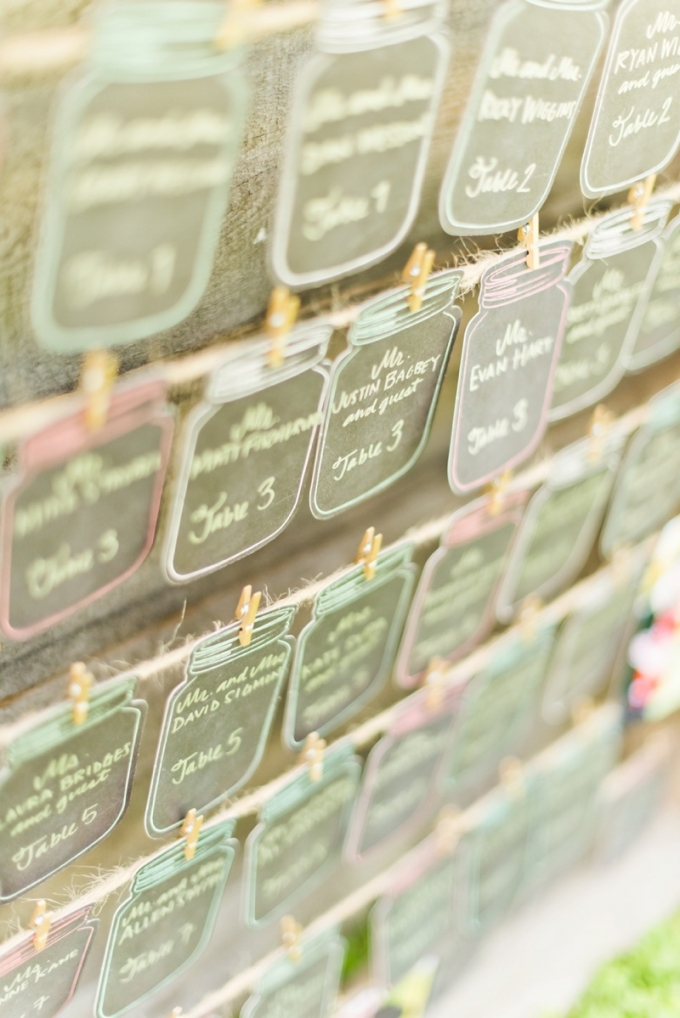 mason jar escort cards | Kate Supa Photography  | Glamour & Grace
