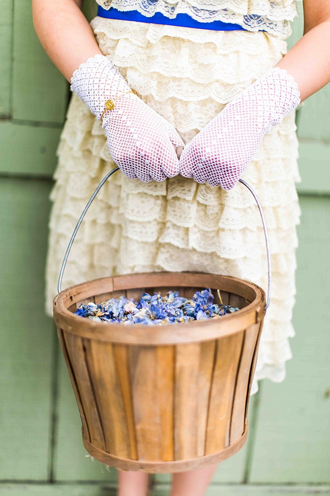flower girl petal pail | Blueberry Photography | Glamour & Grace