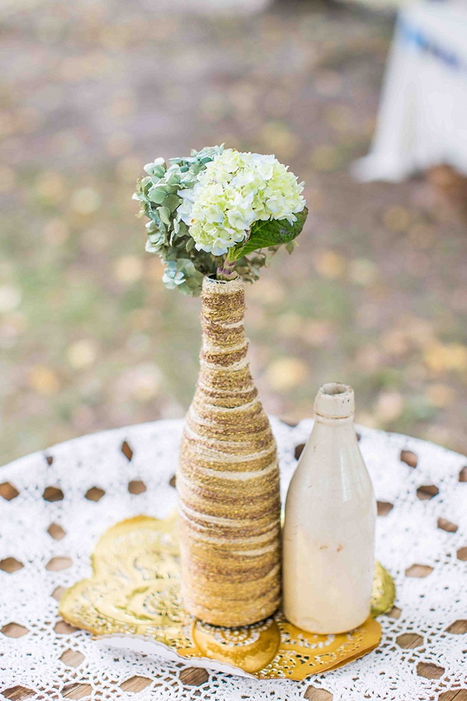 handmade rustic centerpiece | Blueberry Photography | Glamour & Grace