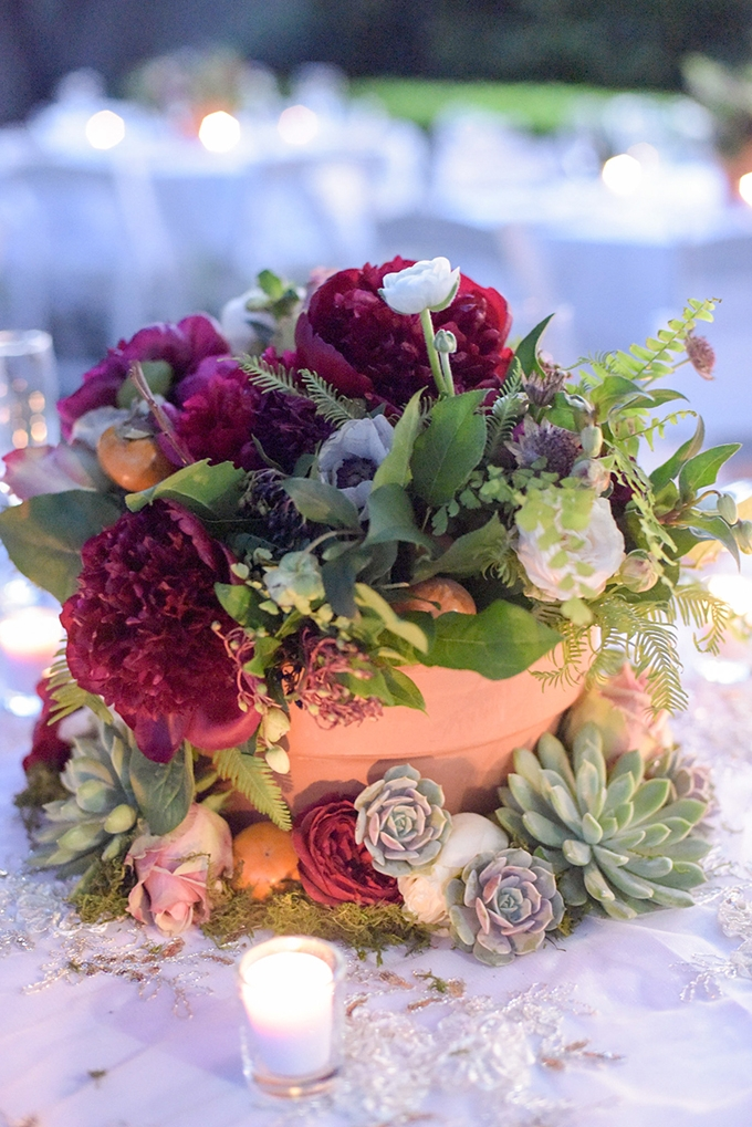 red peony and succulent centerpiece | Jenny Smith & Co. | Glamour & Grace