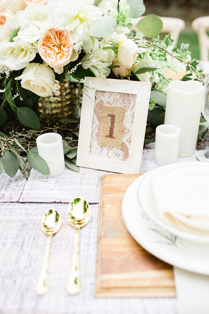 rustic chic table number | Vanessa Velez Photography | Glamour & Grace