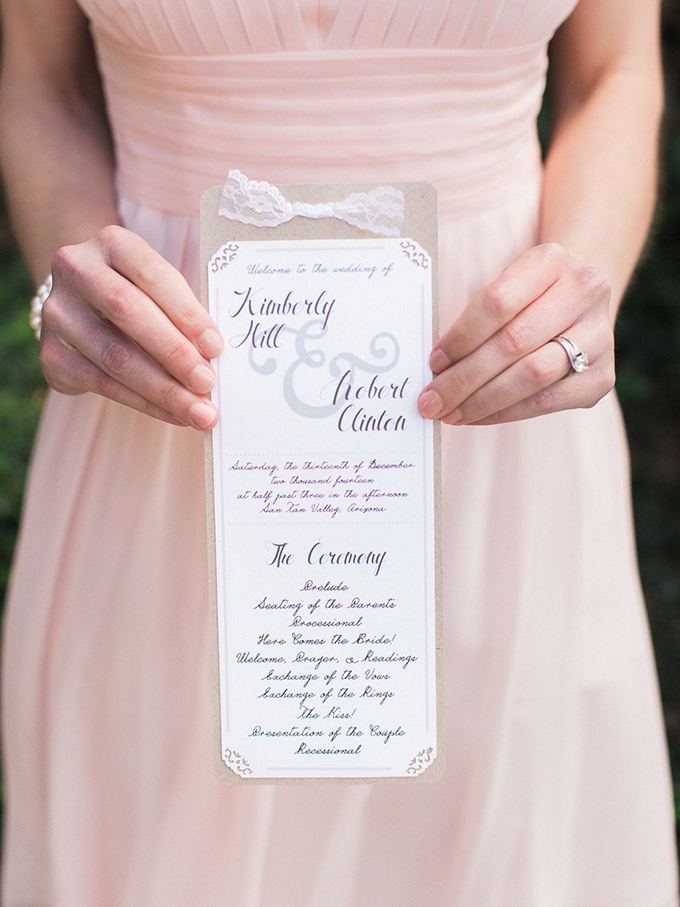 ceremony program | Rachel Solomon Photography | Glamour & Grace