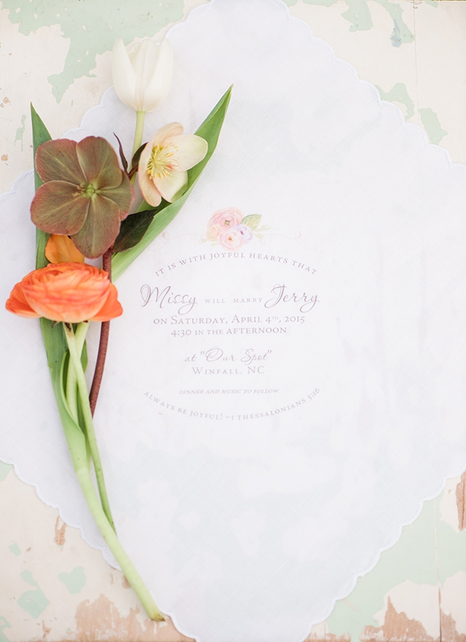 handkerchief invitation | Christina Forbes Photography | Glamour & Grace