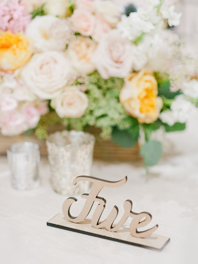 wood table number | Merari Photography | Glamour & Grace