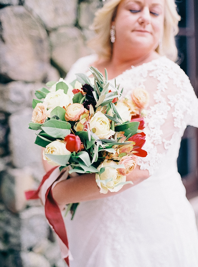 rich yellow and red bouquet by Amanda Burnette | Nikki Santerre Photography | Glamour & Grace