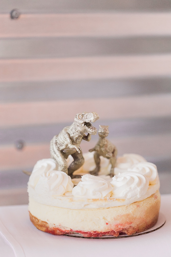 cheesecake with gold dino cake toppers | Sara Lynn Photographic | Glamour & Grace